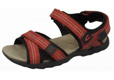 Camel Active 760.11.06 dark red leather sandals for women with velcro closure